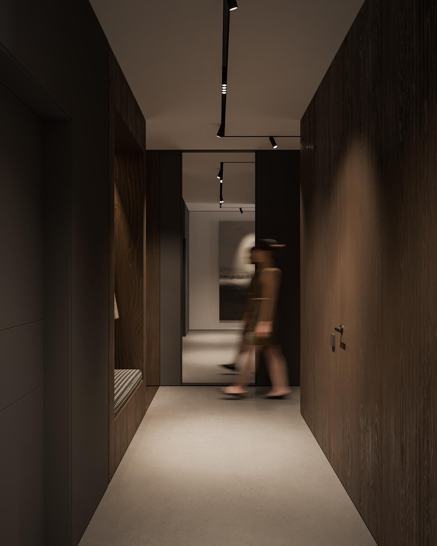 A dark wood lined entryway and hallway, with a built-in bench.
