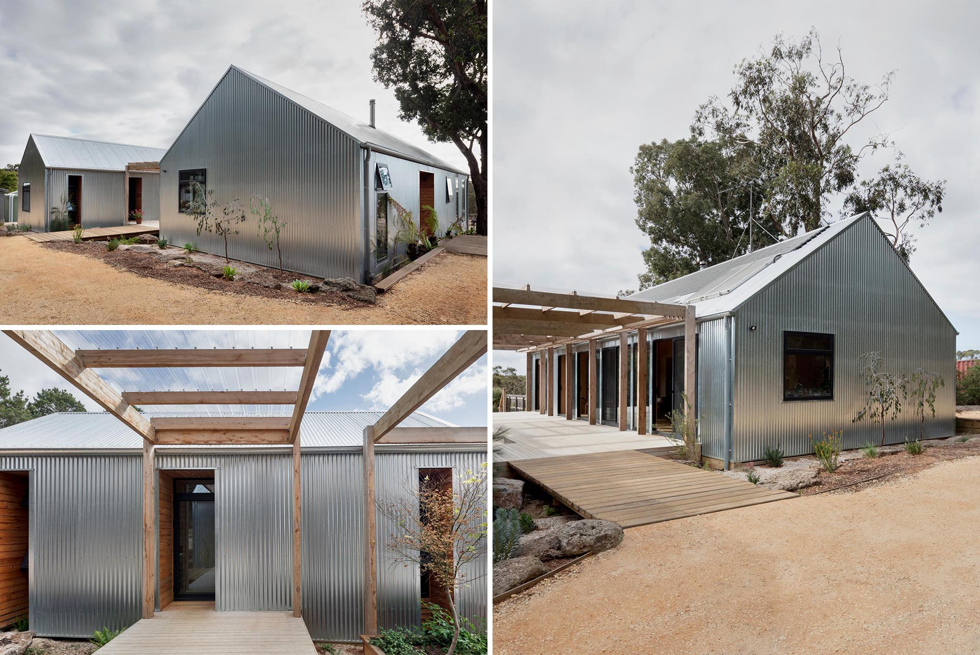 A modern house in rural Australia is covered in corrugated metal siding.