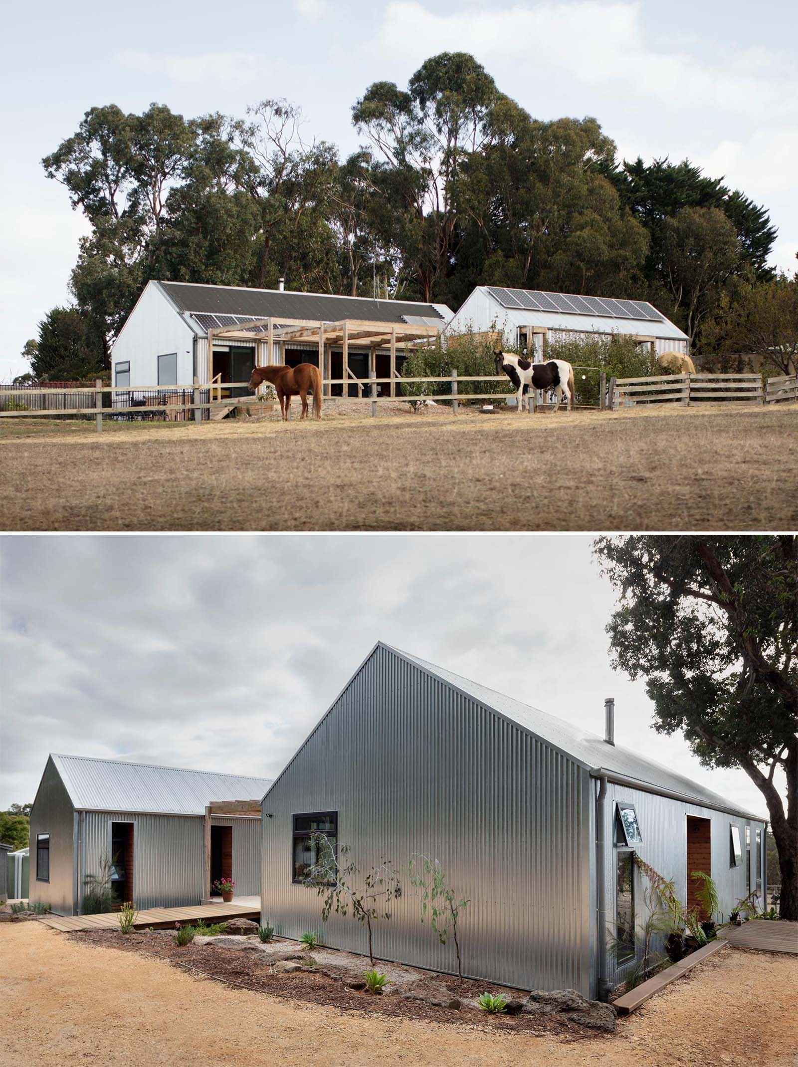 A modern house covered in corrugated metal siding.