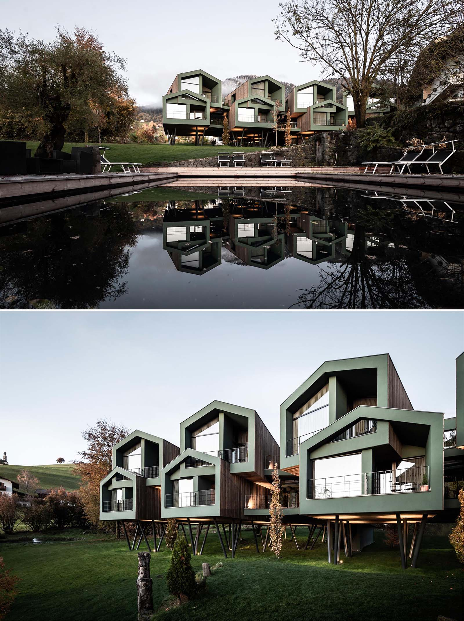 A collection of elevated modern hotel rooms designed to look like tree houses.