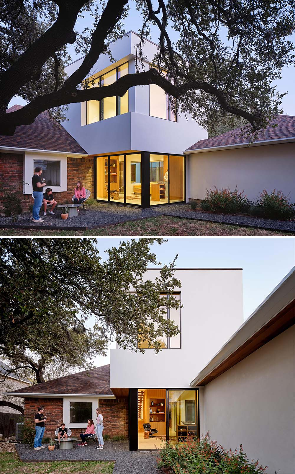 A modern white stucco house addition.