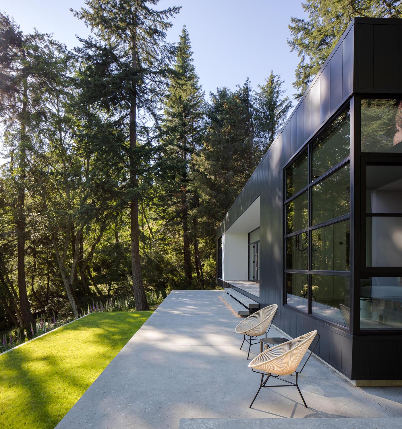 Black framed doors open the interior spaces of this modern home to the rear concrete terrace.