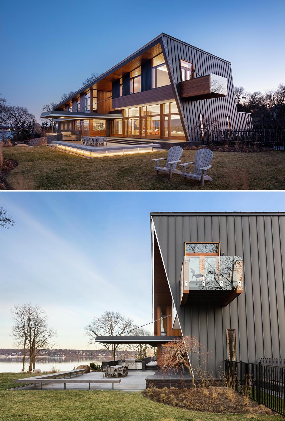 A modern house with a metal roof that flows onto the walls of the home.