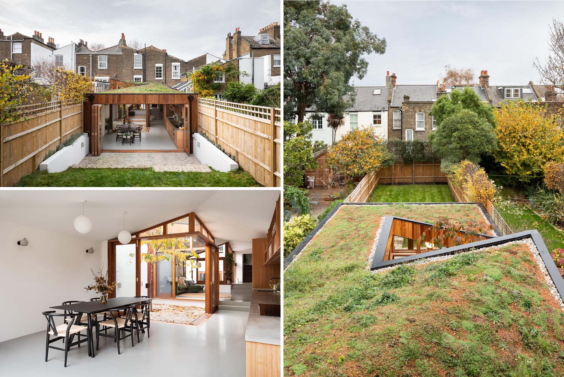 A modern home extension with a green roof, minimalist interior, and warm wood window frames.