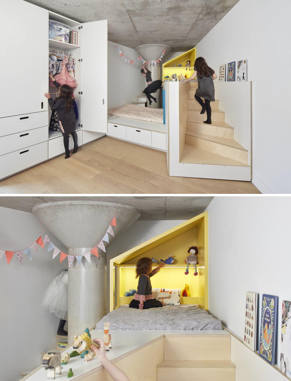 A custom designed bedroom with storage and two small staircases that connect the beds with play areas.