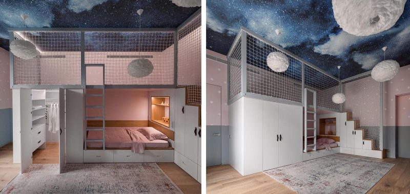 A modern kids bedroom with a lofted play space.