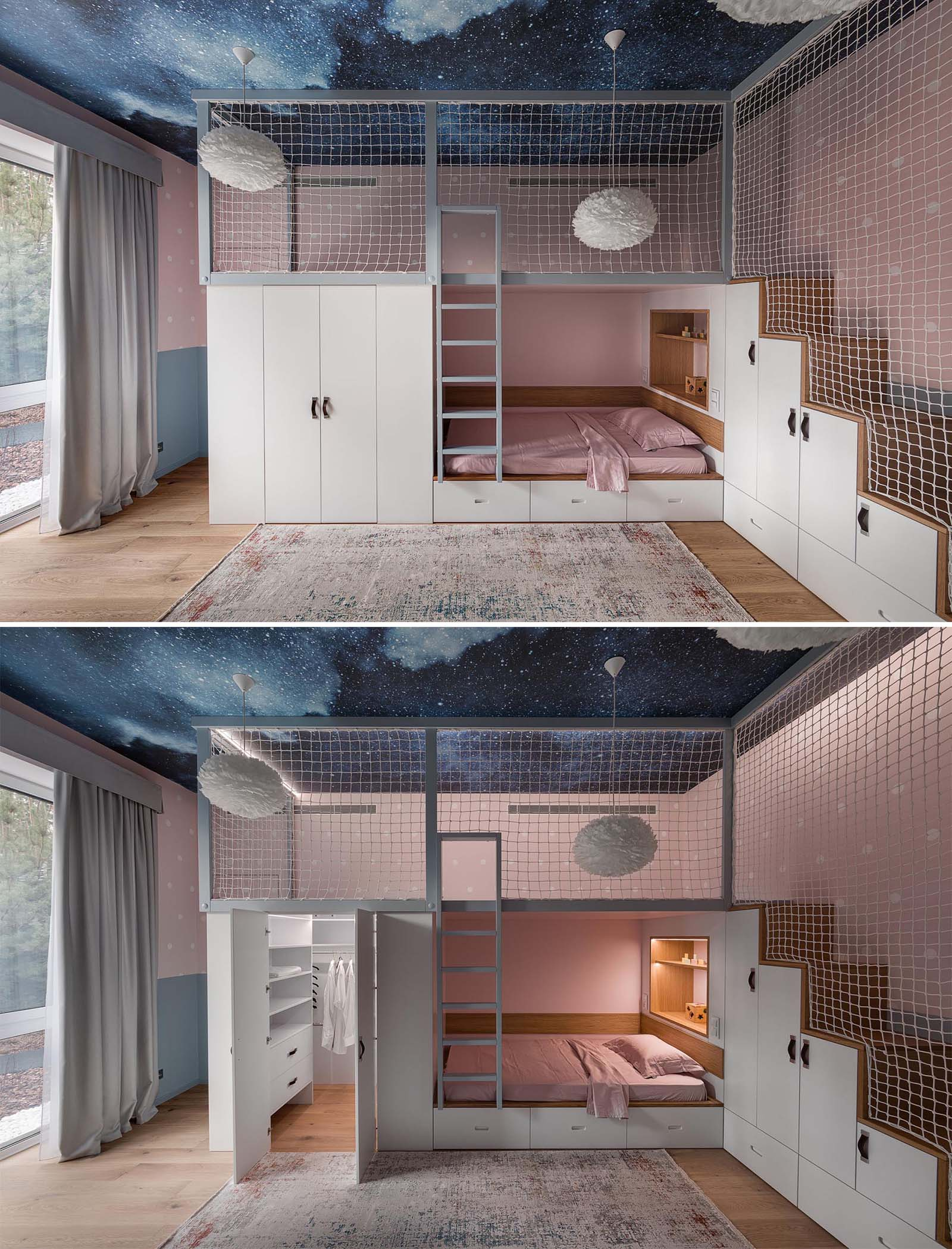 A modern kids bedroom with a lofted play space, a closet, a bed with storage underneath, and a built-in wood-lined shelf with lighting.