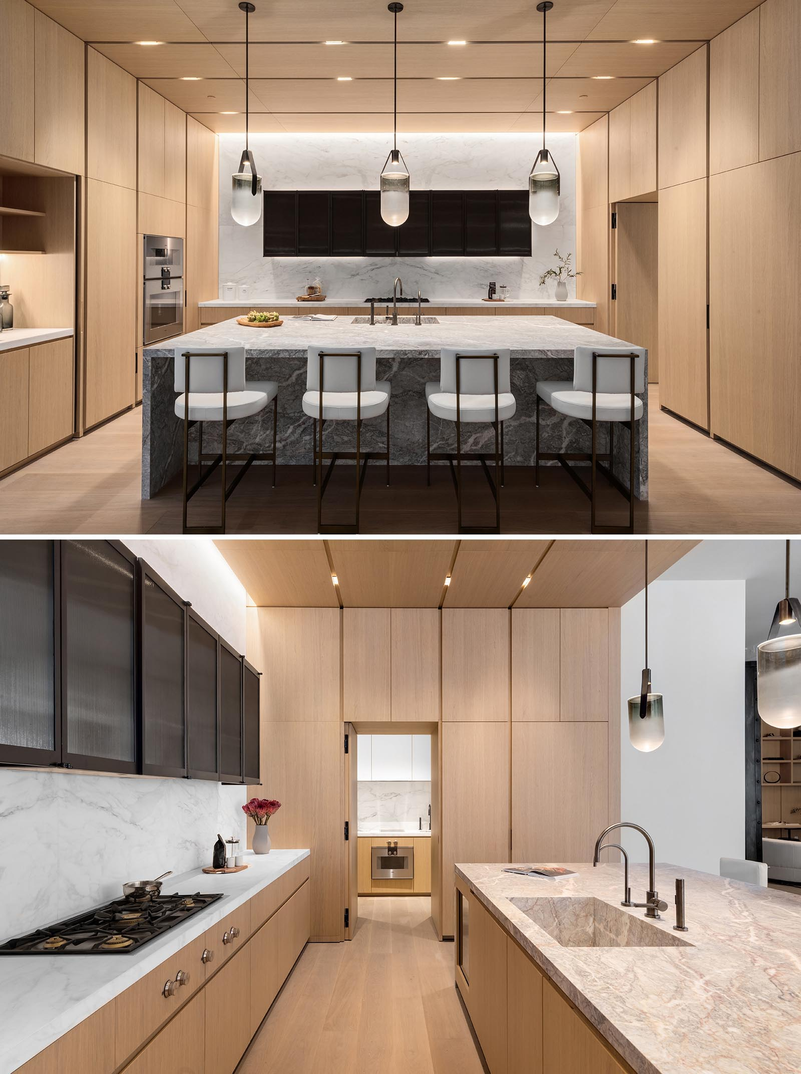 In this modern wood kitchen kitchen, there's a single slab Fior di Bosco marble island that measure in at 10 feet, custom Canova white oak cabinets and millwork, a Calacatta stone countertop and backsplash, as well a scullery.