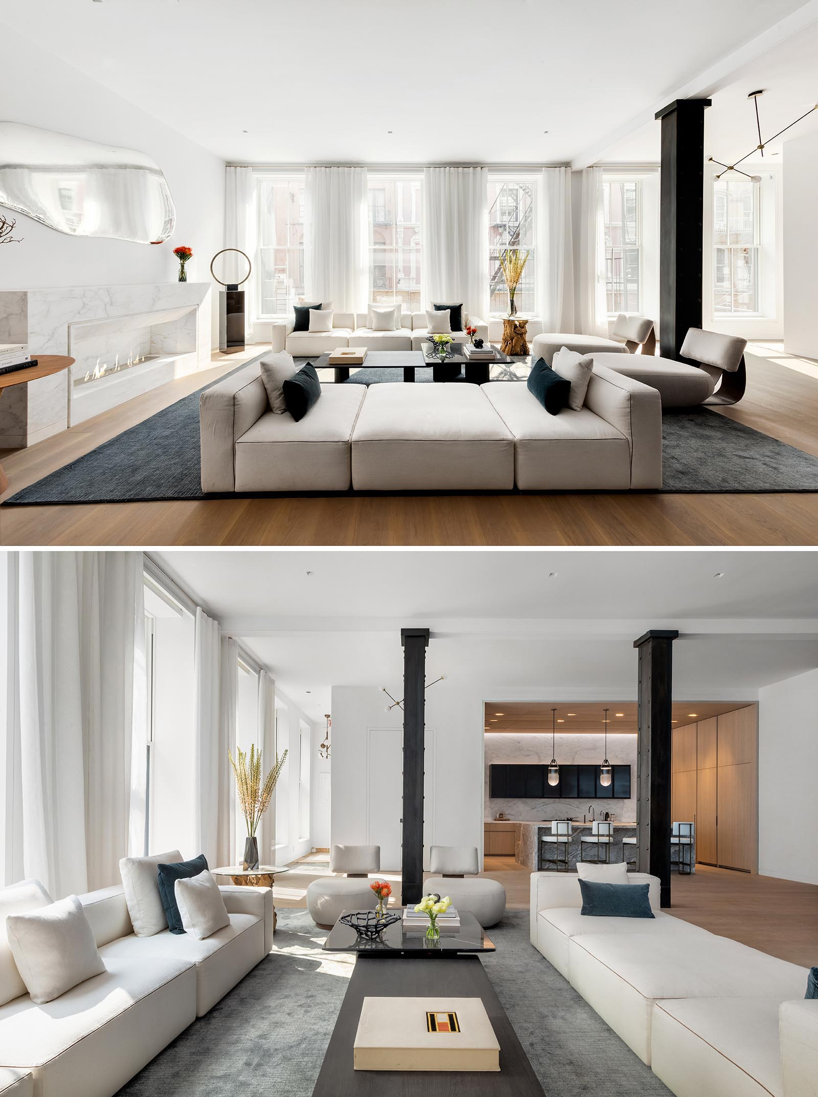 This modern living room includes 11-foot ceilings with black steel columns, six oversized, east-facing windows, and a large marble fireplace.
