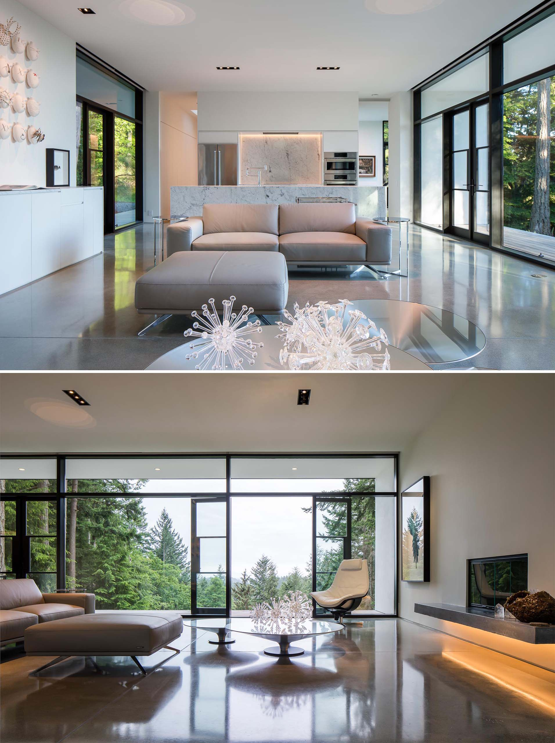 The interior of the home has all white surfaces with Carrera marble countertops and gray concrete, creating a sleek contemporary appearance, similar to that of an art gallery.
