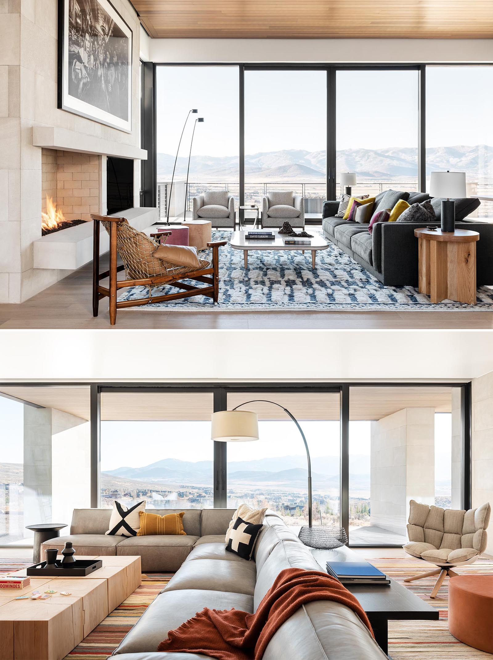 This modern living room has large windows and sliding glass doors to take advantage of the views, while a fireplace is the focal point for the living room.