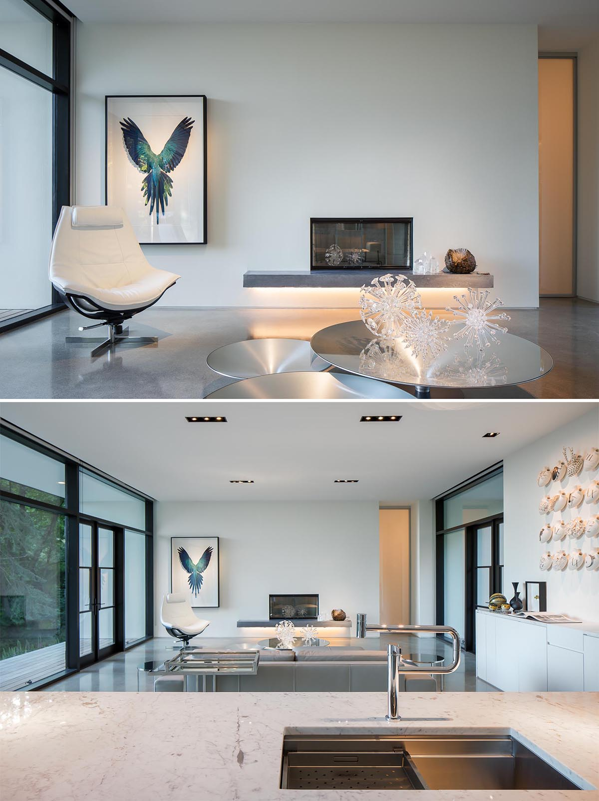 In this modern living room, there's a floating fireplace hearth with hidden lighting that reflects off the floor.