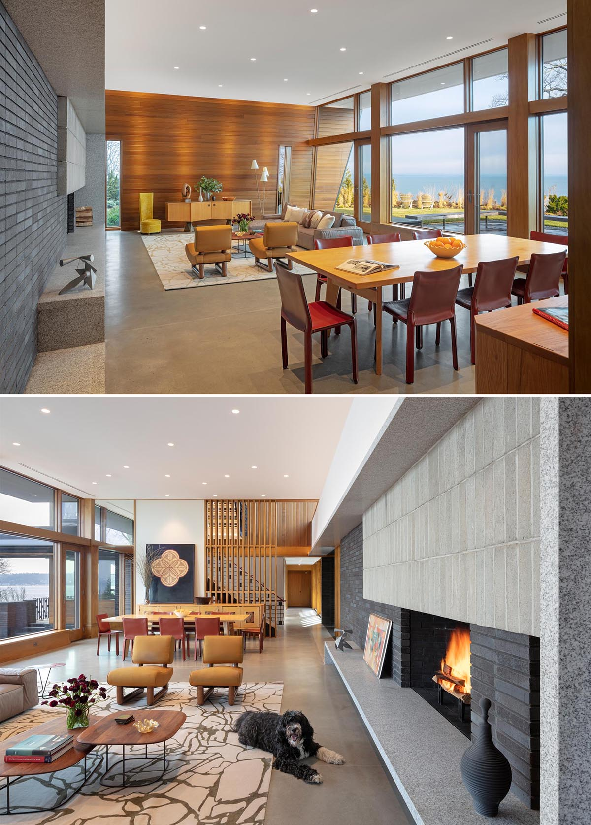 The interior of this modern home includes warm cedar wood walls, concrete floors, and stone elements.