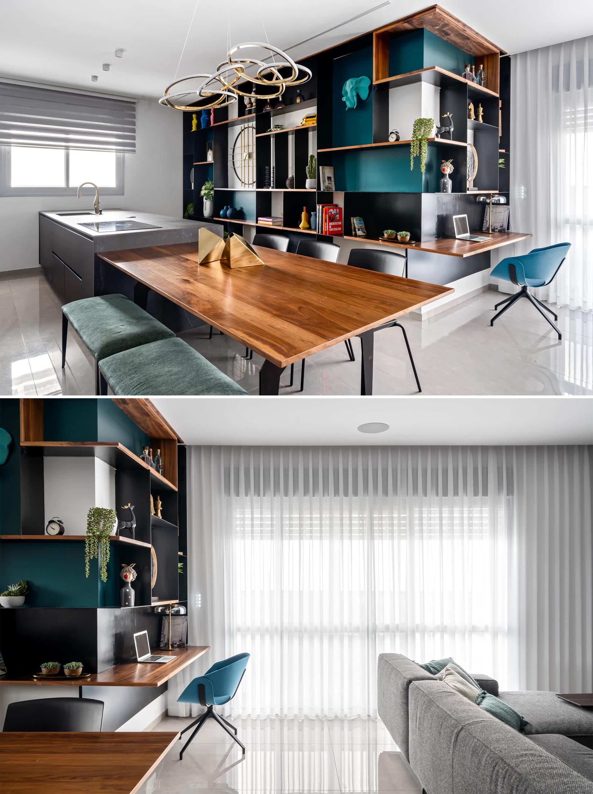 Open to both the kitchen / dining room and the living room, the steel shelving unit has wood shelf that's designed as a desk, making use of an awkward corner by the sliding doors that open to a balcony.
