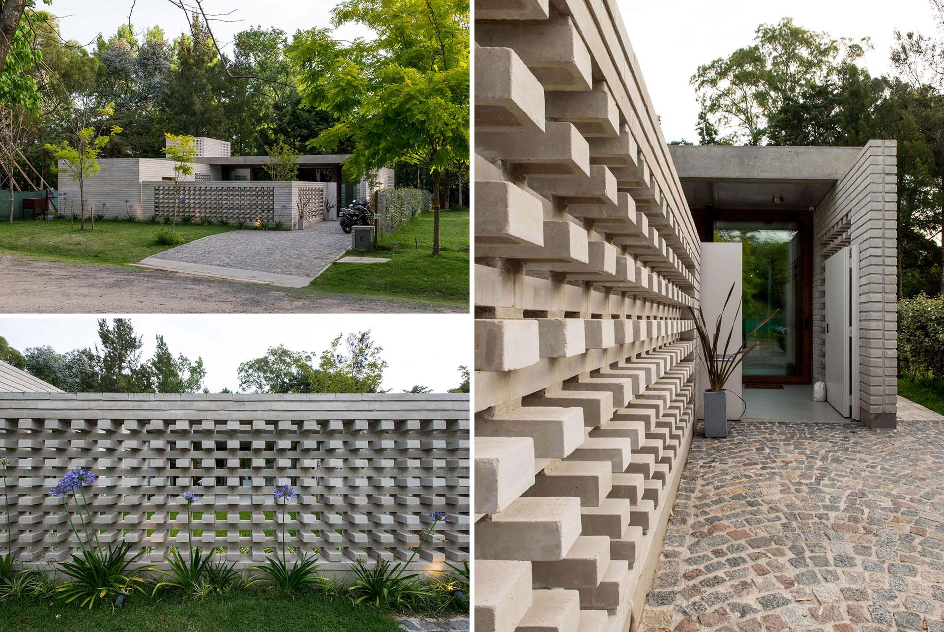 A concrete block wall that provides privacy for a modern home.