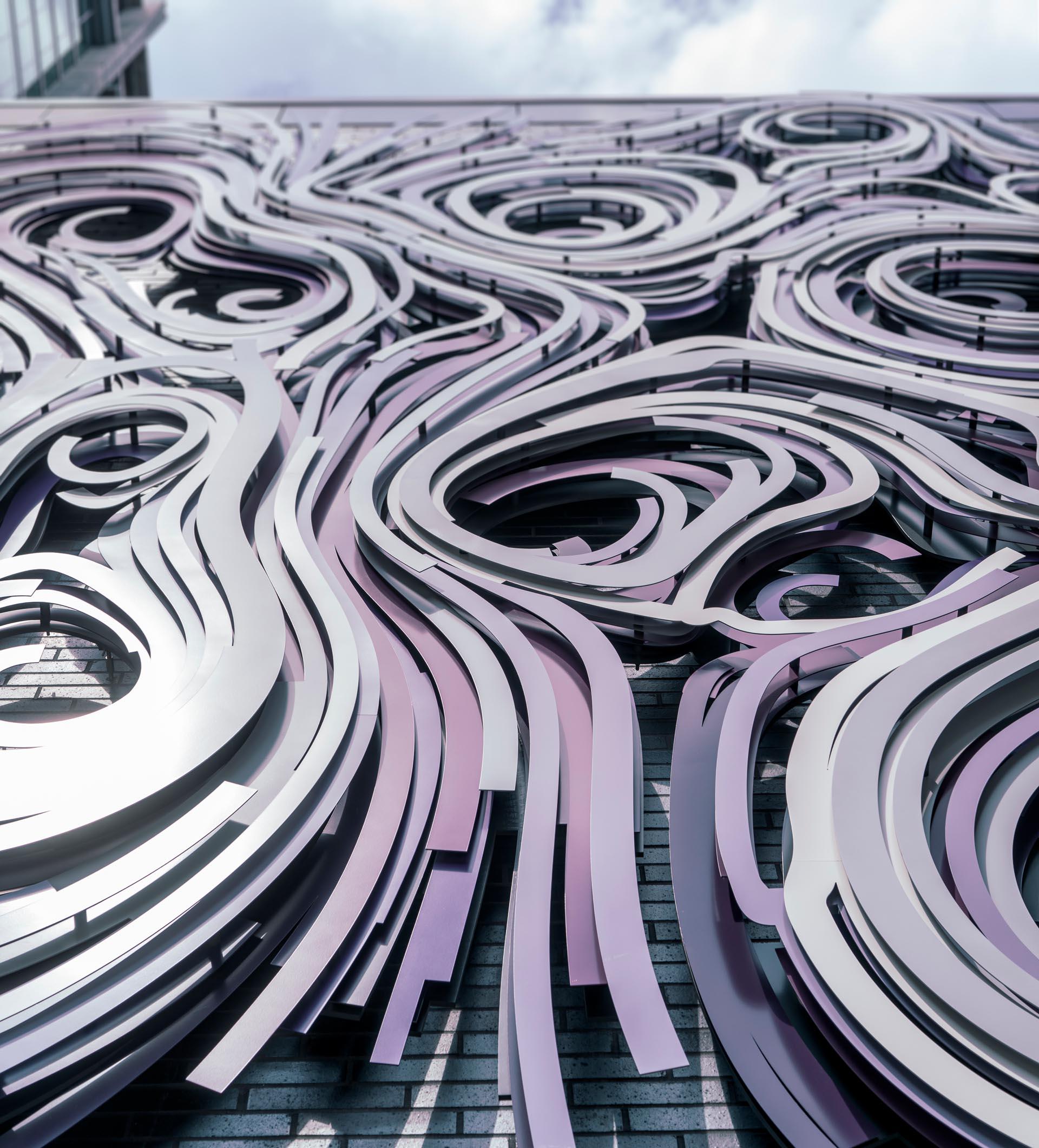 A three-dimensional wall mural.