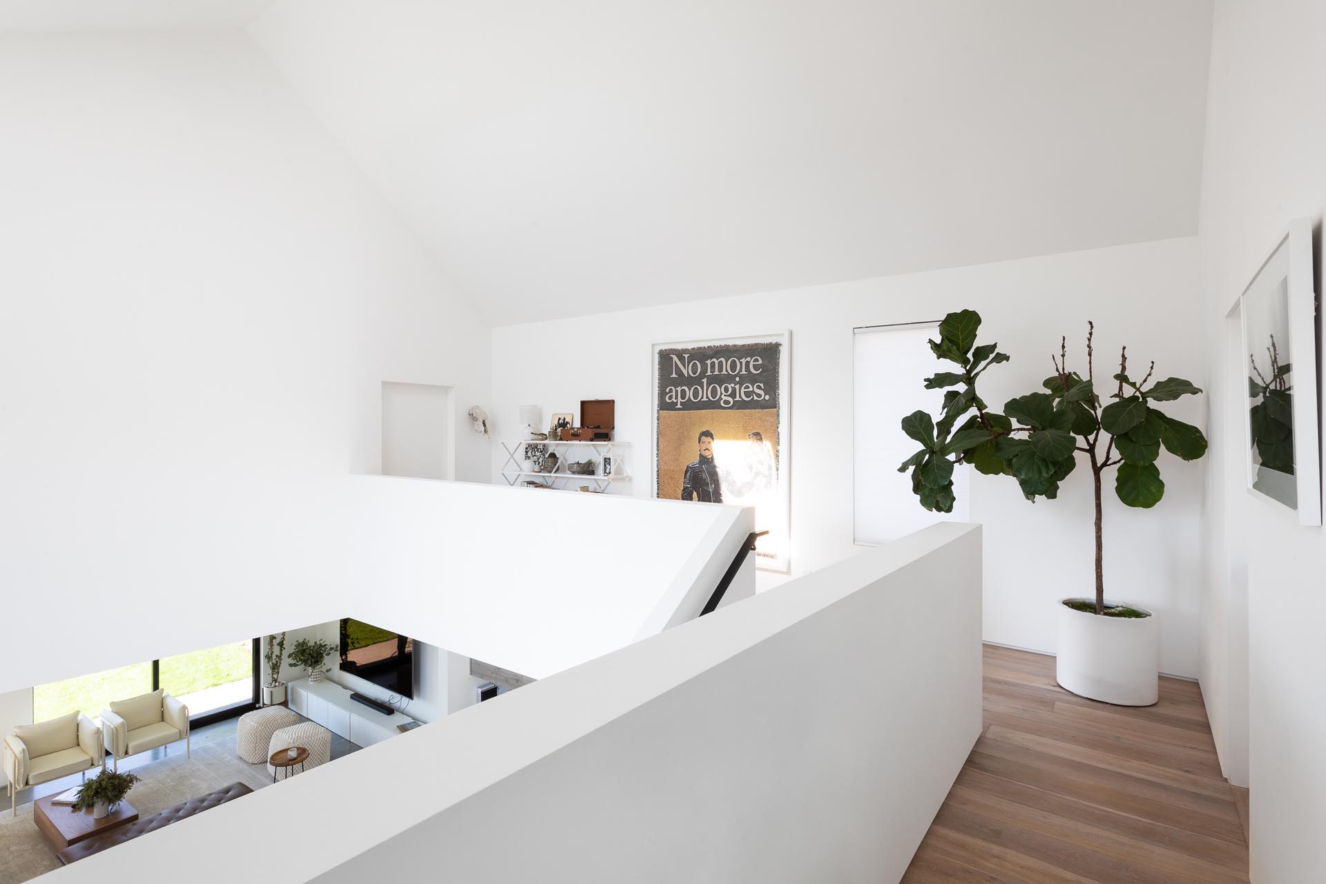 At the top of the stairs in this modern home, there's an open hallway with wood flooring, a tall plant in the corner, artwork, and shelving.