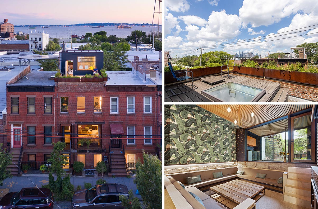 A remodeled brick house in New York includes a sunken living room and a rooftop deck.
