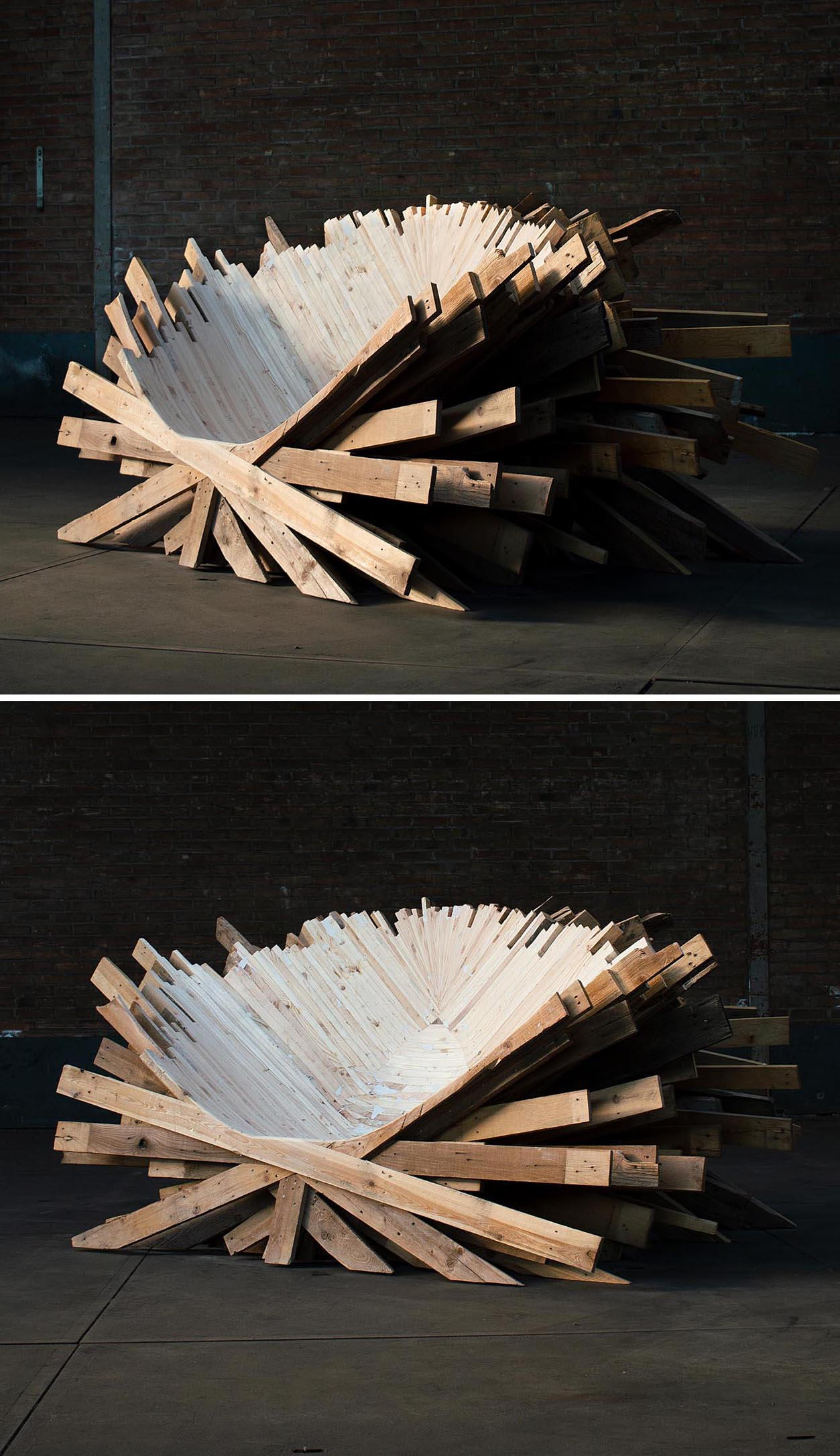 An oversized and sculptural chair made from recycled wood pallets.