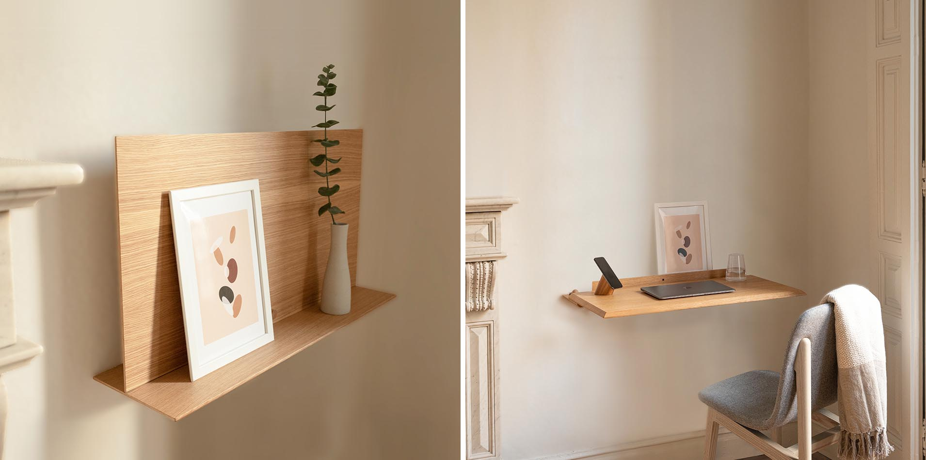 A small wall mounted shelf that transforms into a desk.