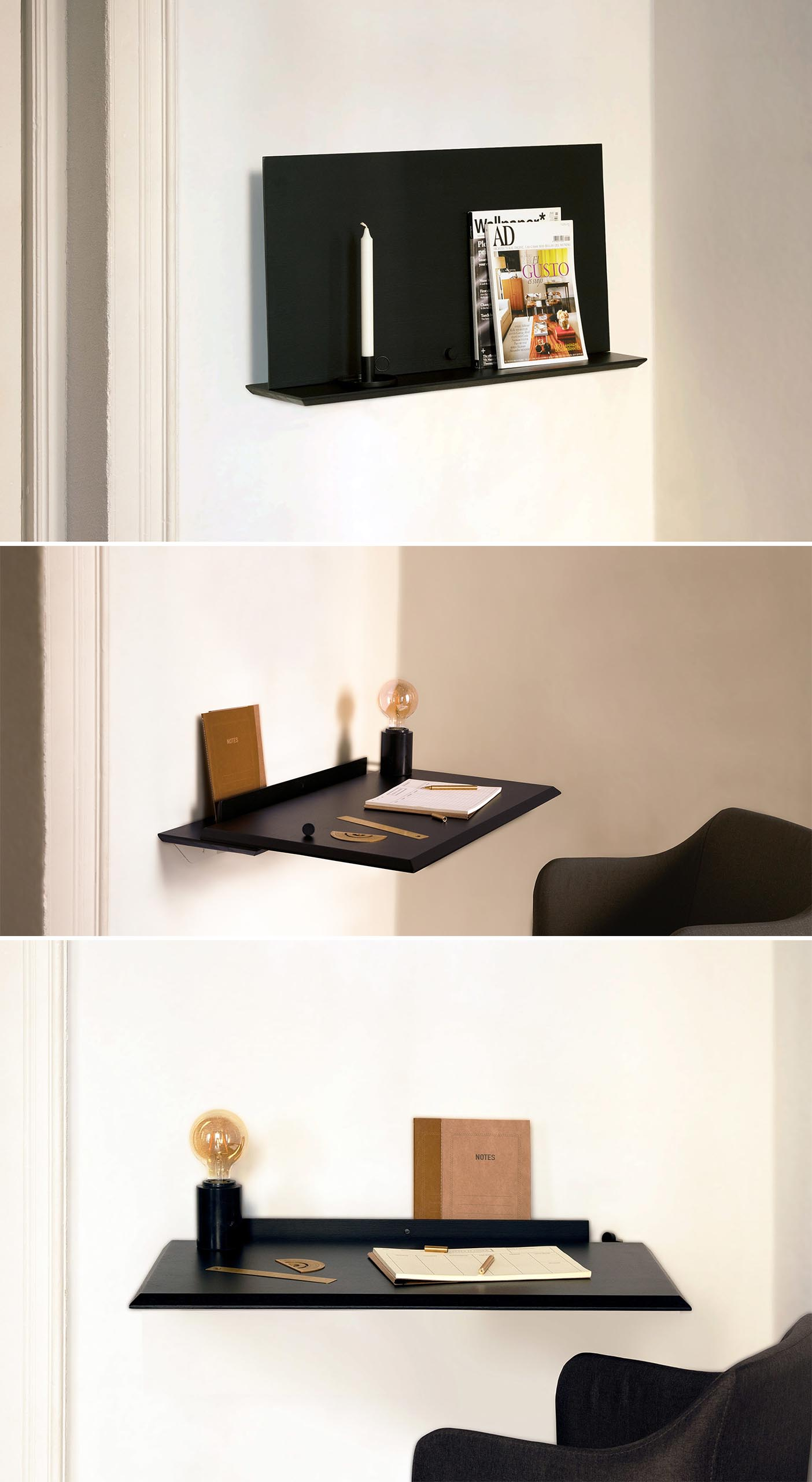 A small wall mounted black shelf that transforms into a desk.