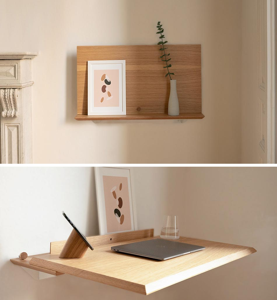 A small wall mounted wood shelf that transforms into a desk.