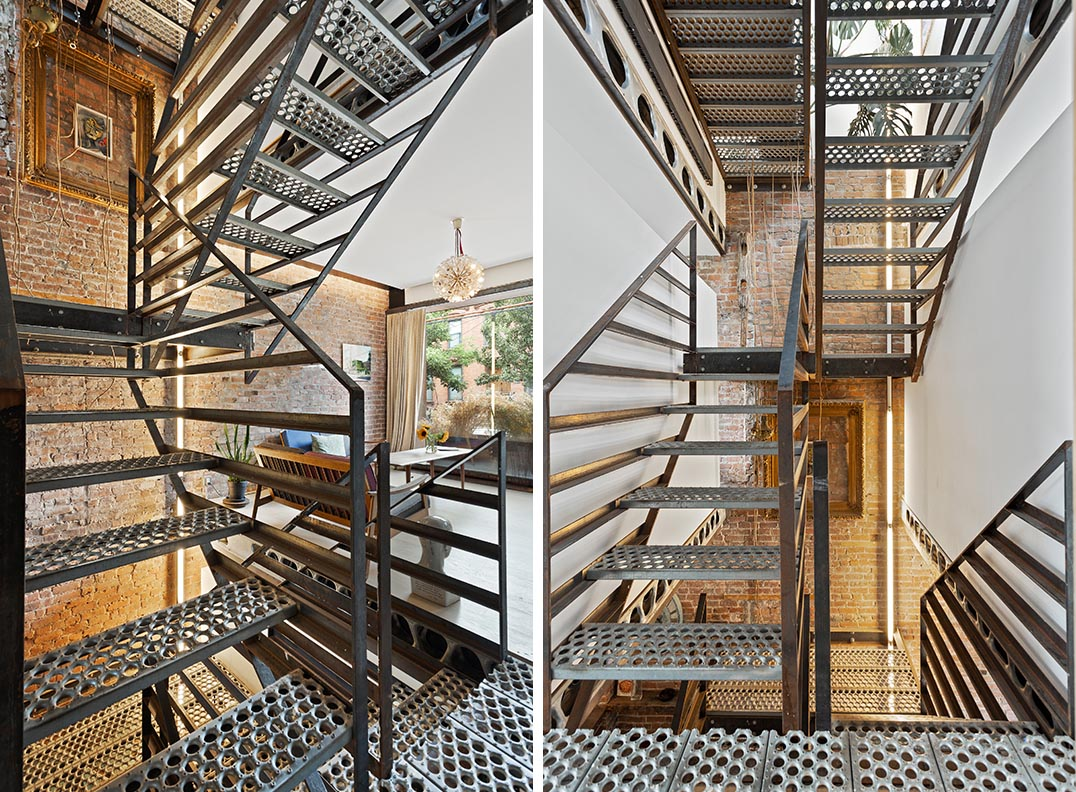 A sculptural steel staircase located in the center of the building connects all of the four storeys of this remodeled home, and allows the use of the full width on each floor of the house.