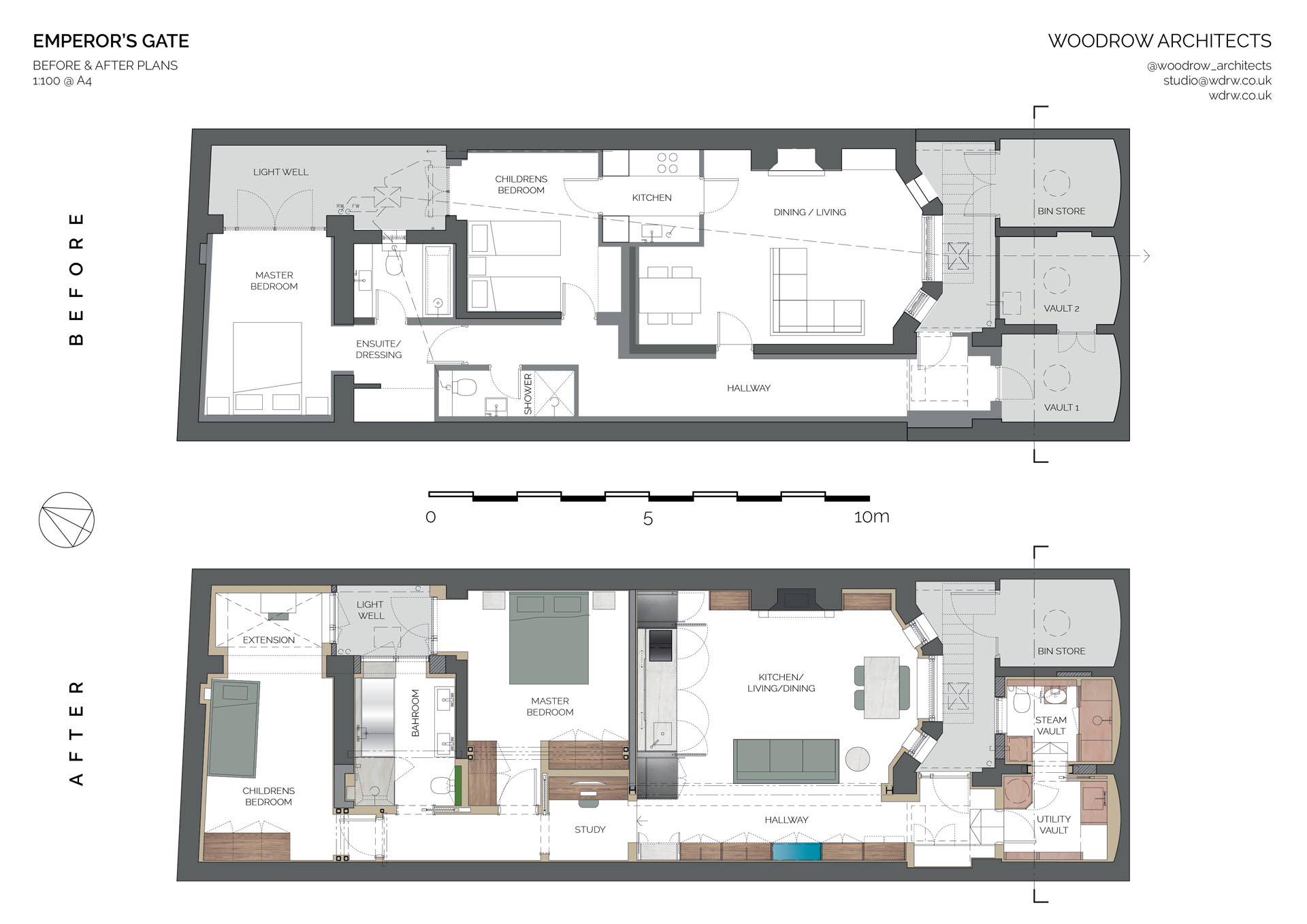 The before and after floor plan of an apartment remodel in London.