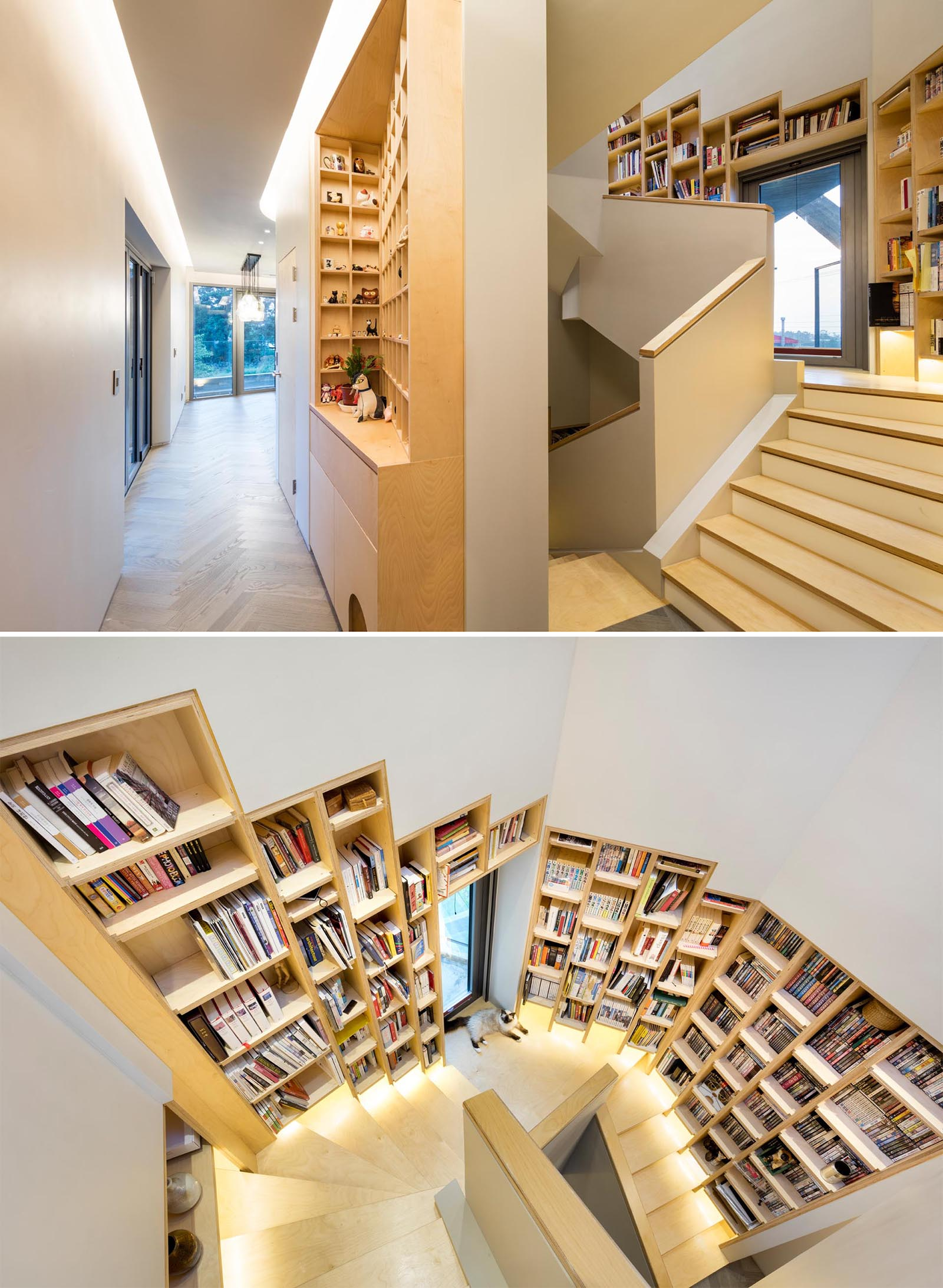 A built-in wood bookshelf that follows the staircase in a modern home.