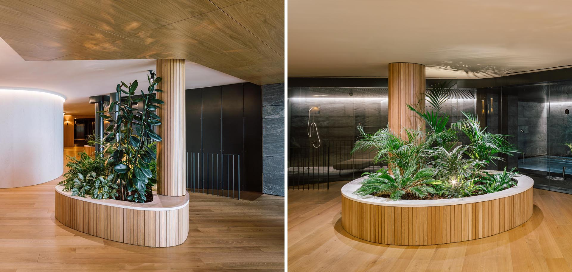 The columns in this spa have been wrapped in wood slats, softening the look of them, and helping them become a part of the built-in planters.
