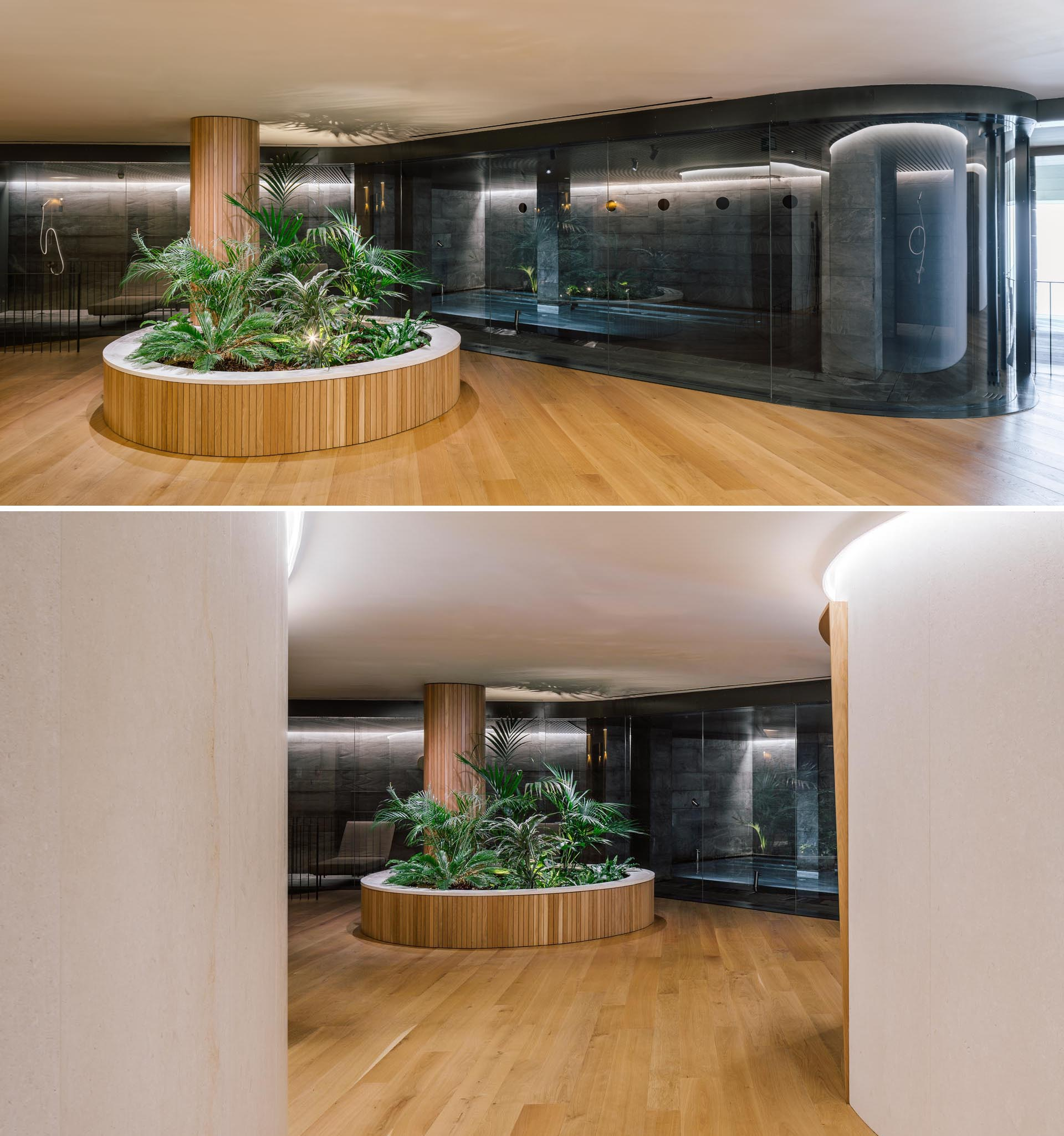 A modern spa with built-in planters that have been designed to help guide the flow of people around the spa.