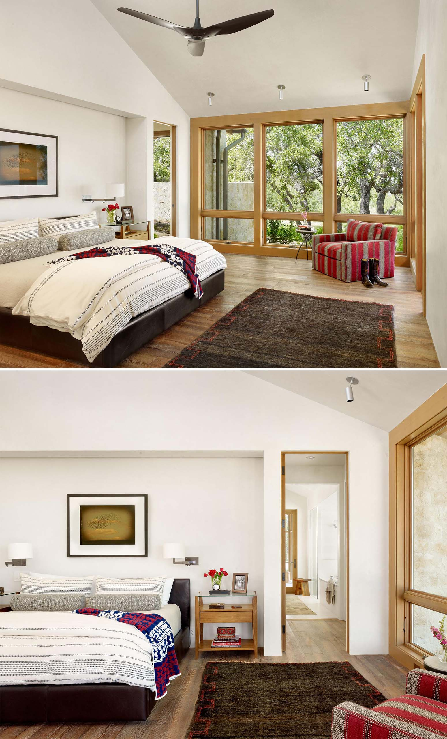 This primary bedroom features a vaulted ceiling, a bed that's recessed into the wall, and wood framed windows.