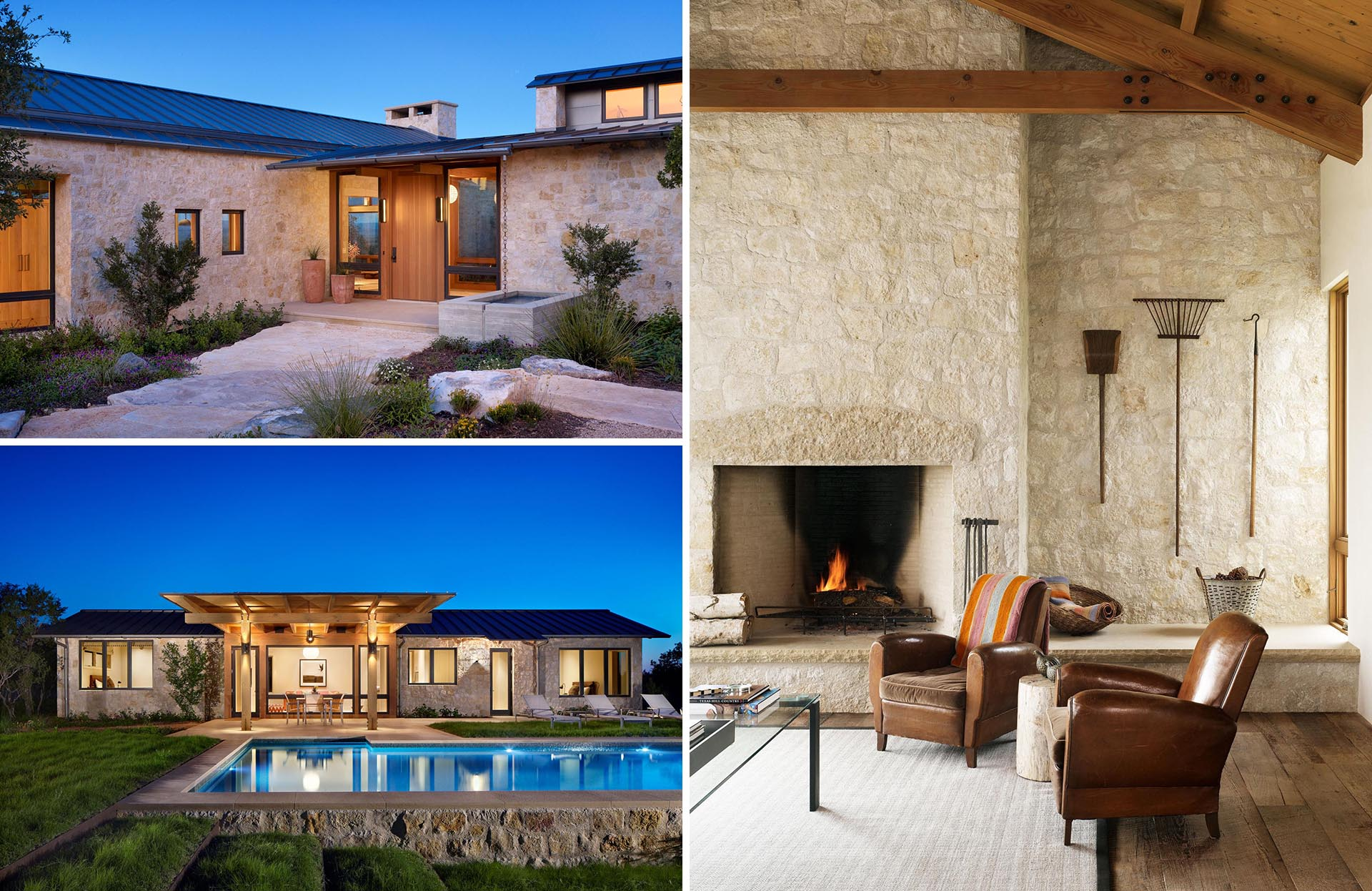 This contemporary home includes limestone walls, a metal roof, and black window frames.