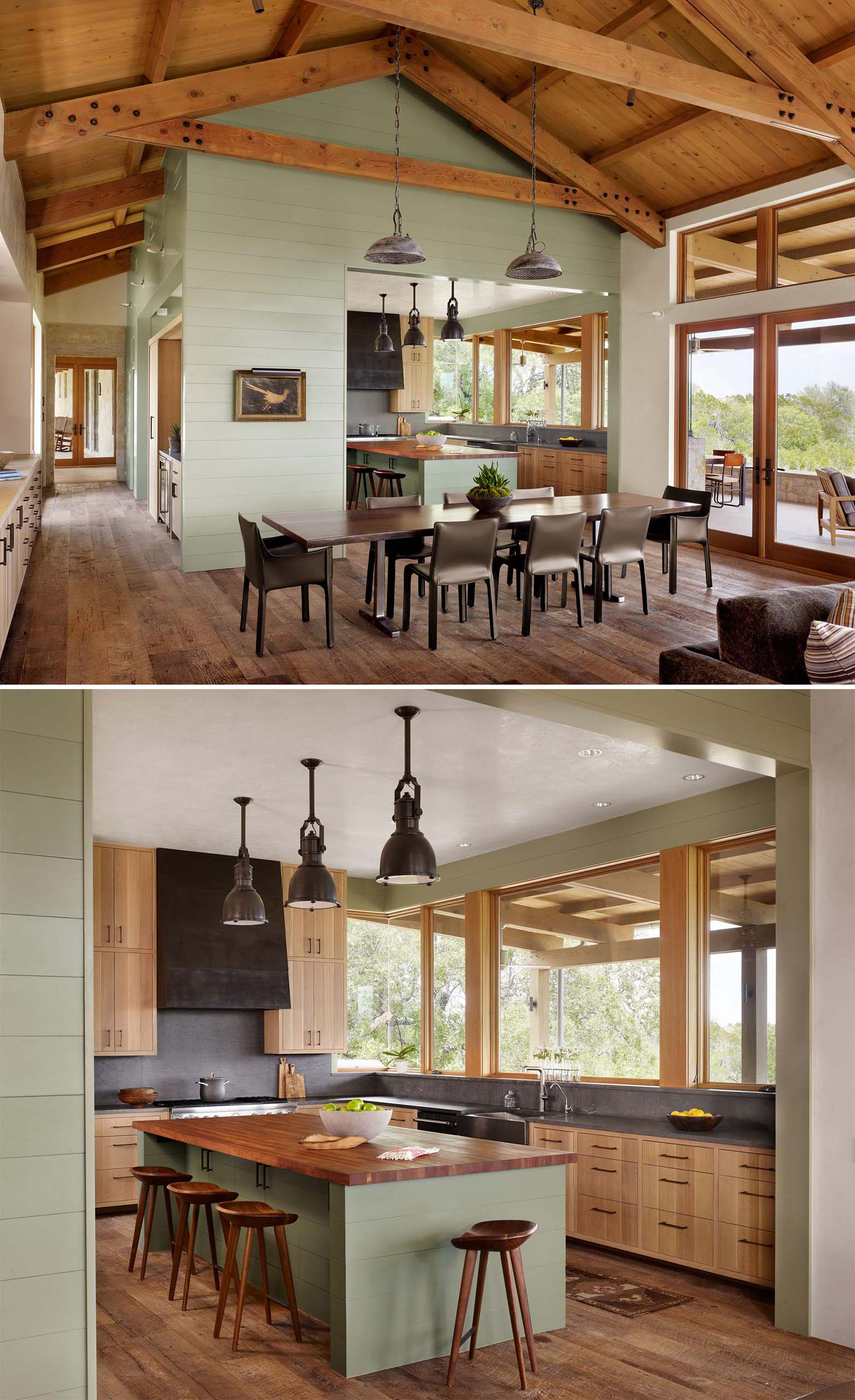 A contemporary sage green kitchen with wood accents.