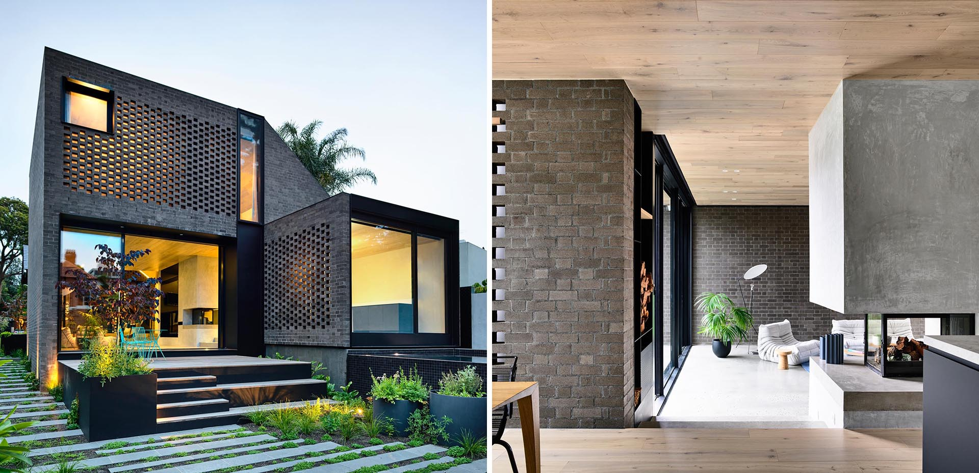A Dark Brick Addition Creates More Living Space For This Home