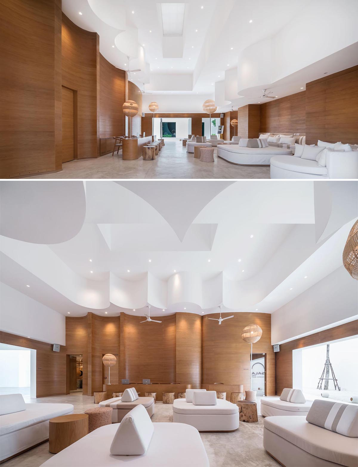 A modern hotel lobby with sculptural wood walls, woven lighting, and round furniture.
