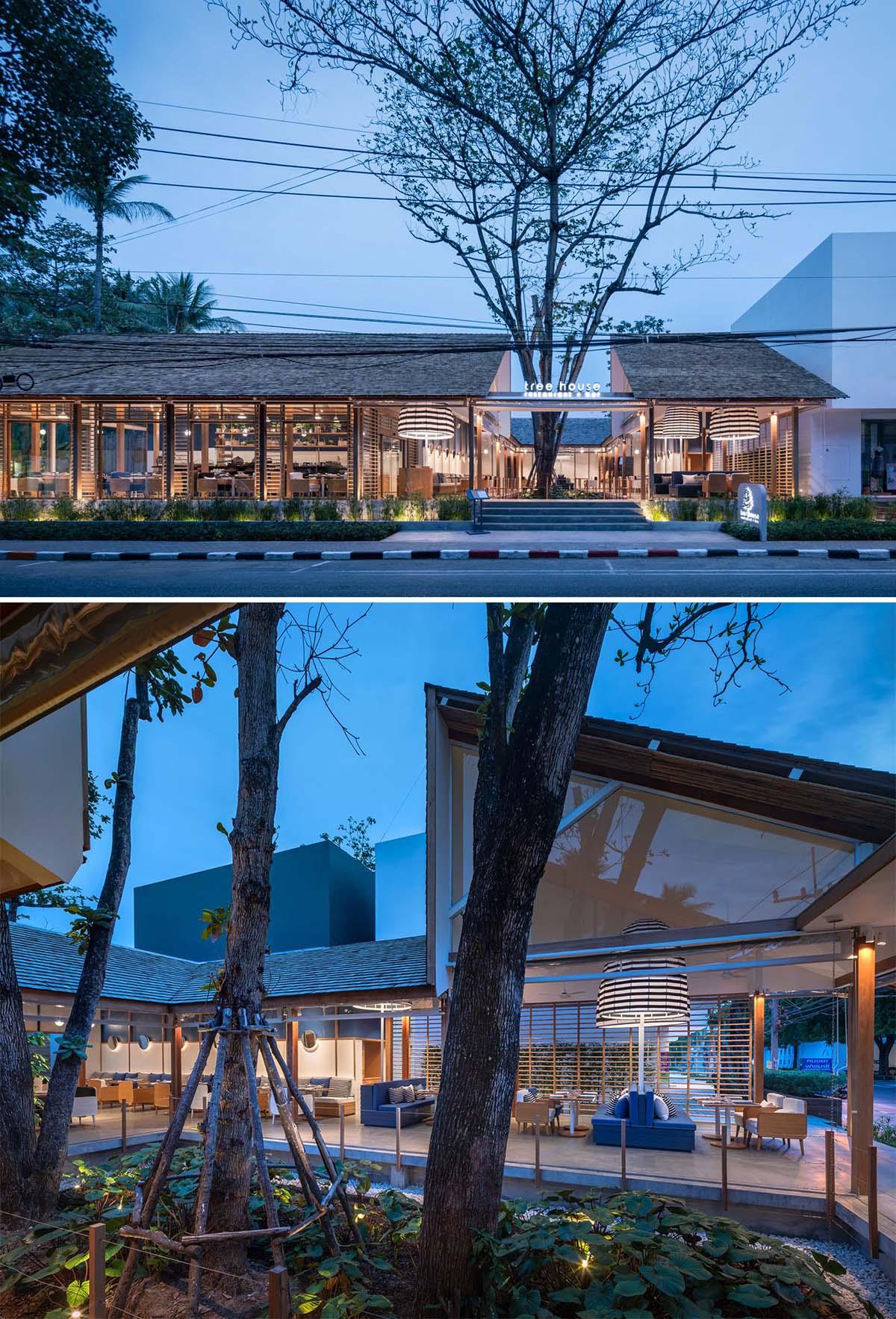 A modern restaurant hotel with glass walls.