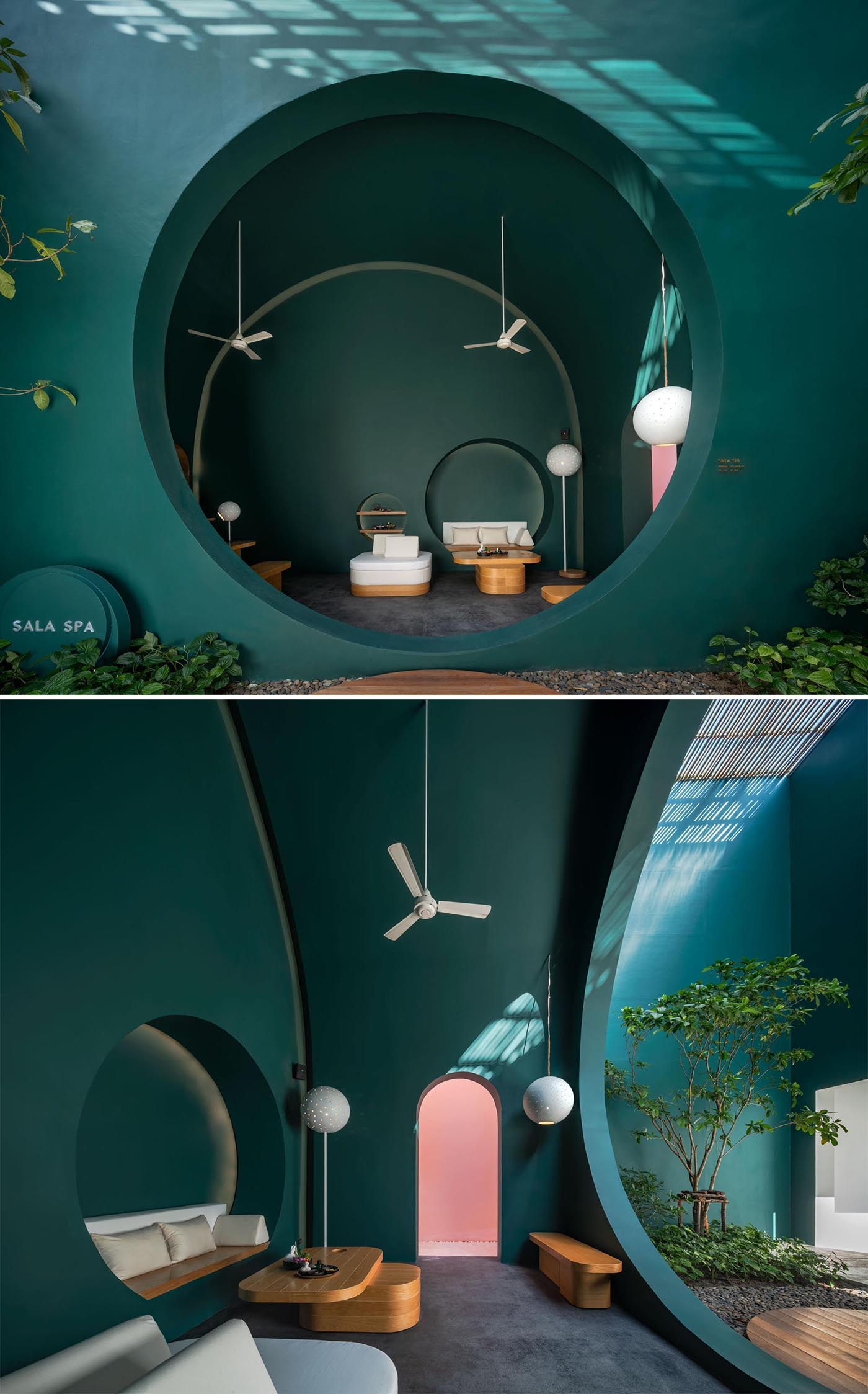 Dark green walls and a built-in seat in a modern hotel spa.