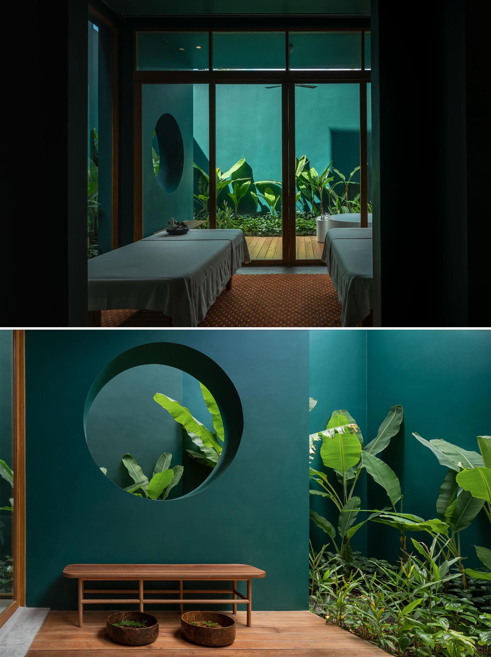 A spa with deep green walls.