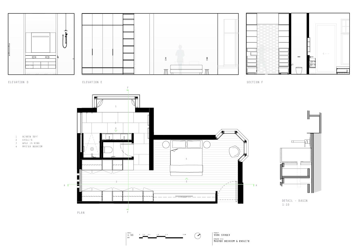 House plans that show how a new addition was built in relation to the original heritage home.