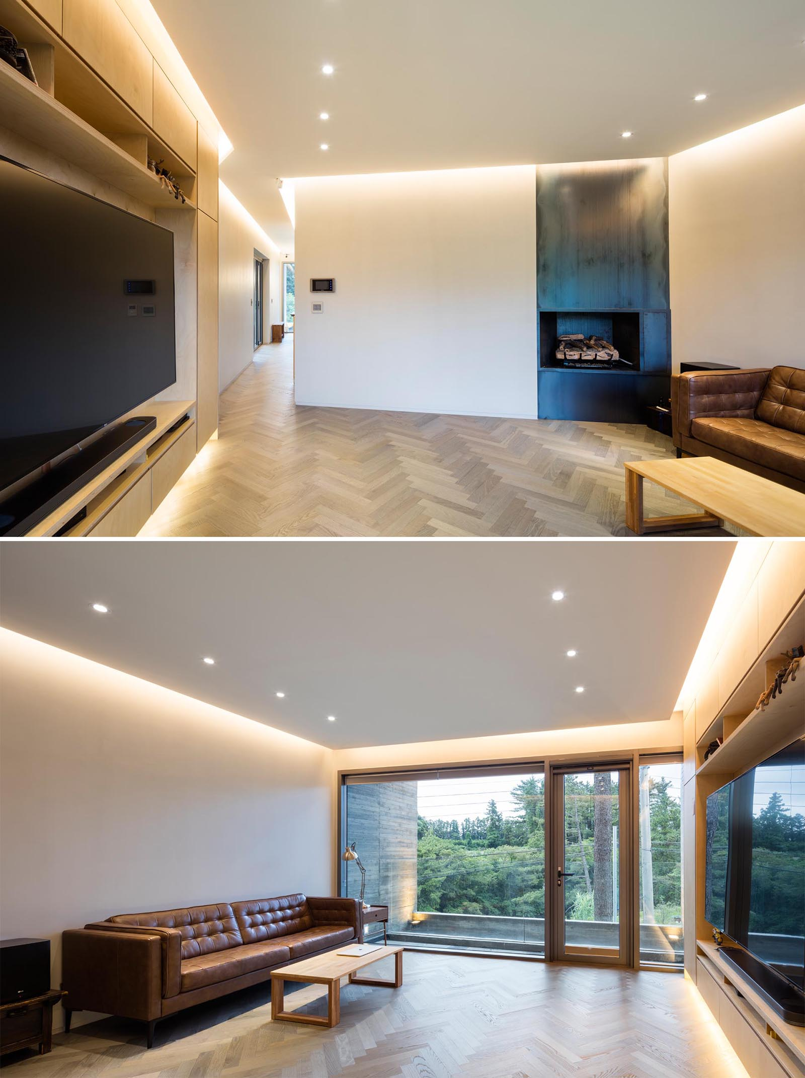 A modern living room with white walls and ceilings, wood flooring, and hidden lighting.