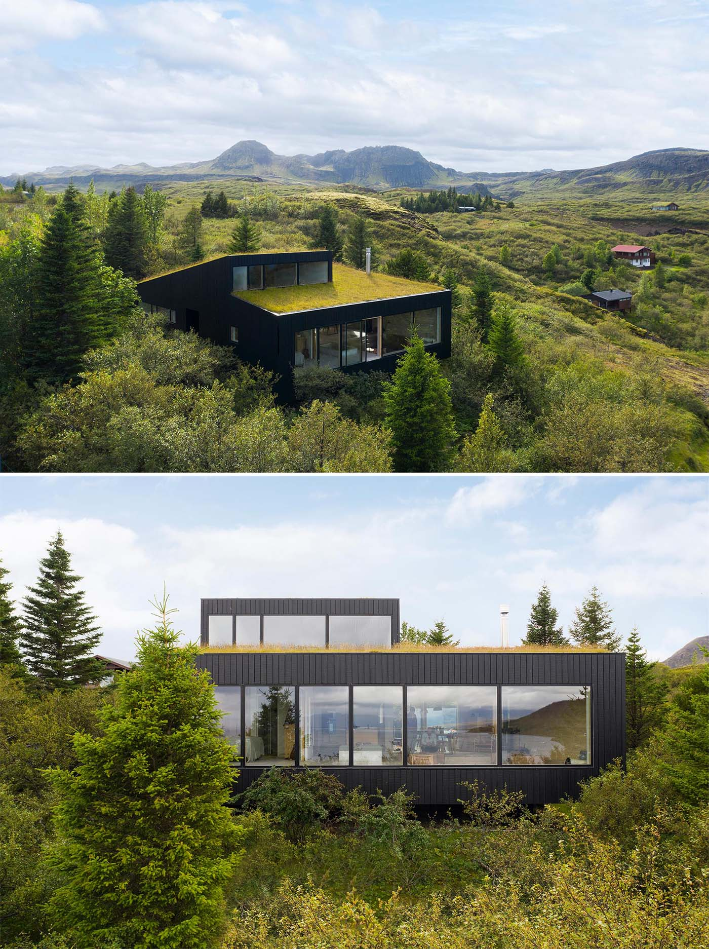 A modern home with blackened wood siding and a green roof.