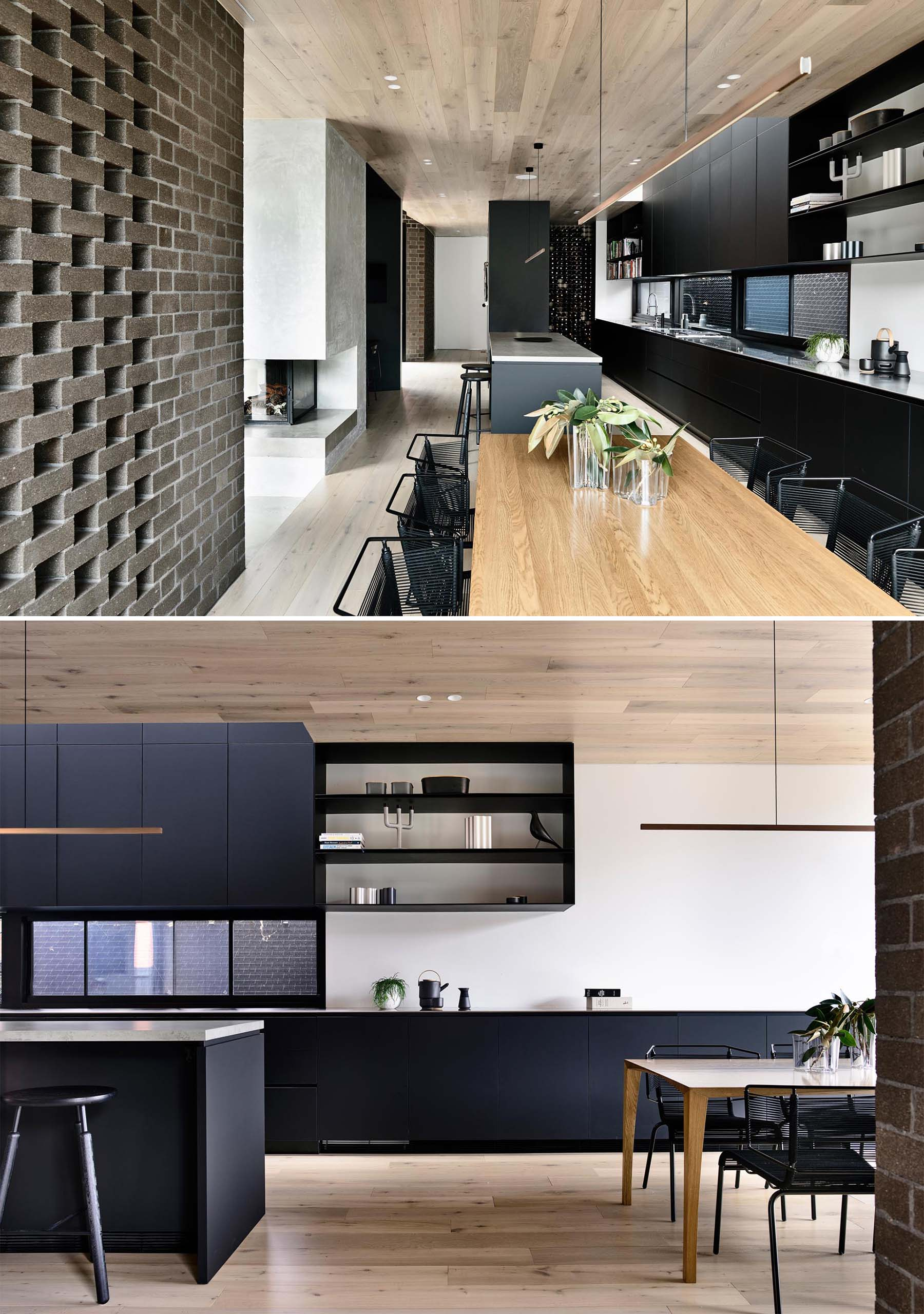 This modern kitchen shares the space with the dining room, however it's the matte black kitchen cabinets that line the wall that command attention.