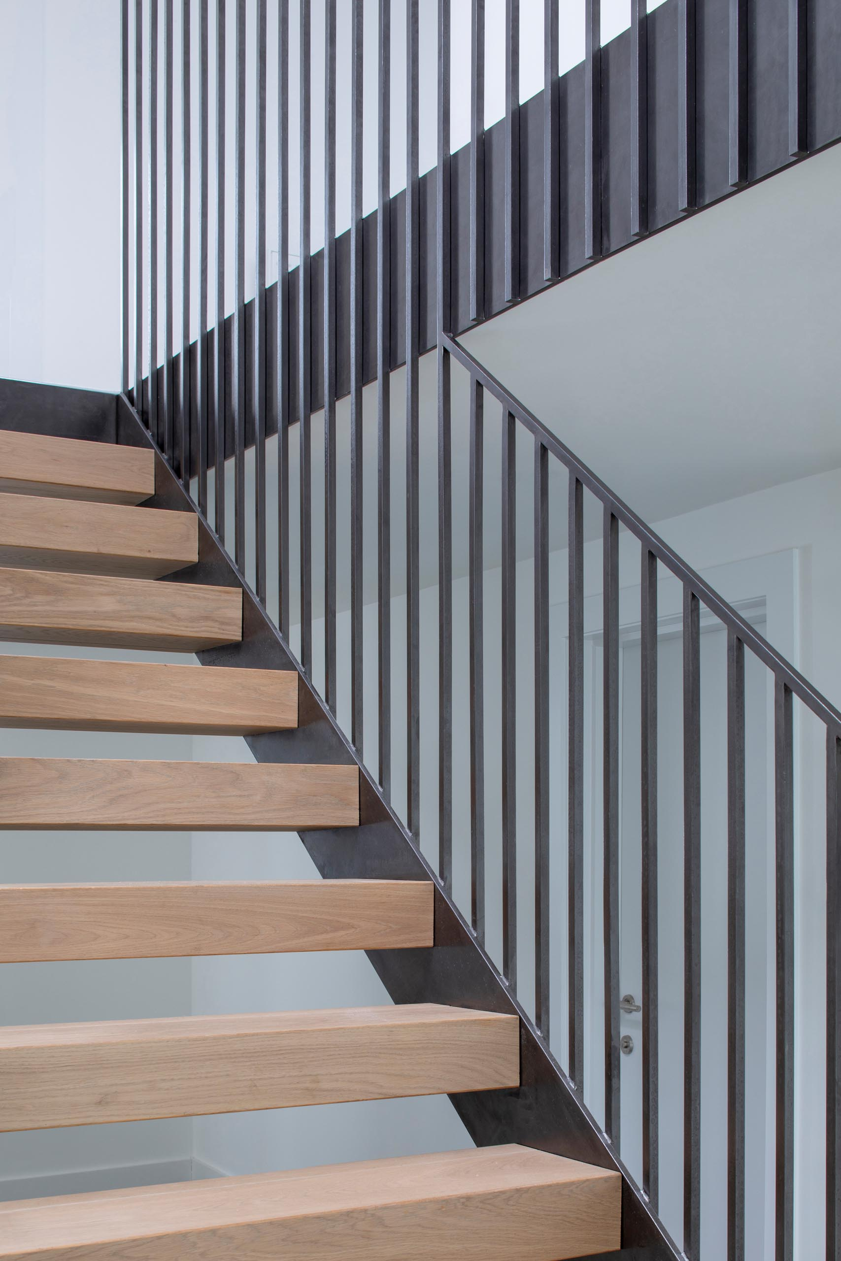 Modern steel and wood stairs.