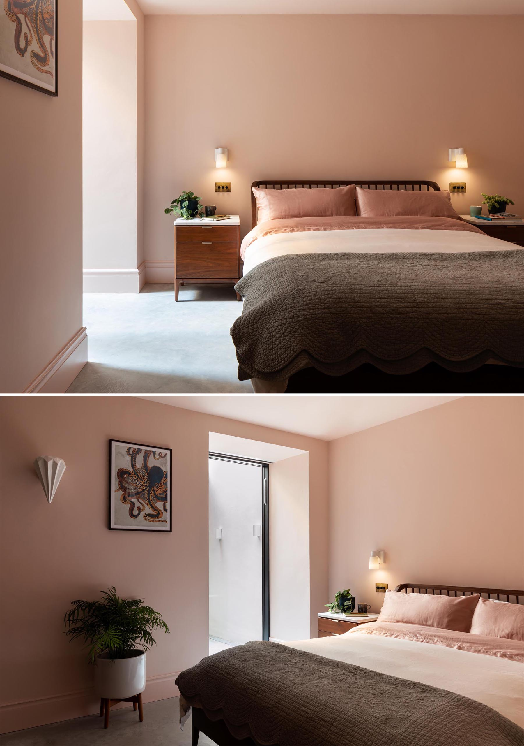 In this modern bedroom, blush pink walls and bedding creates a calm and relaxed environment.