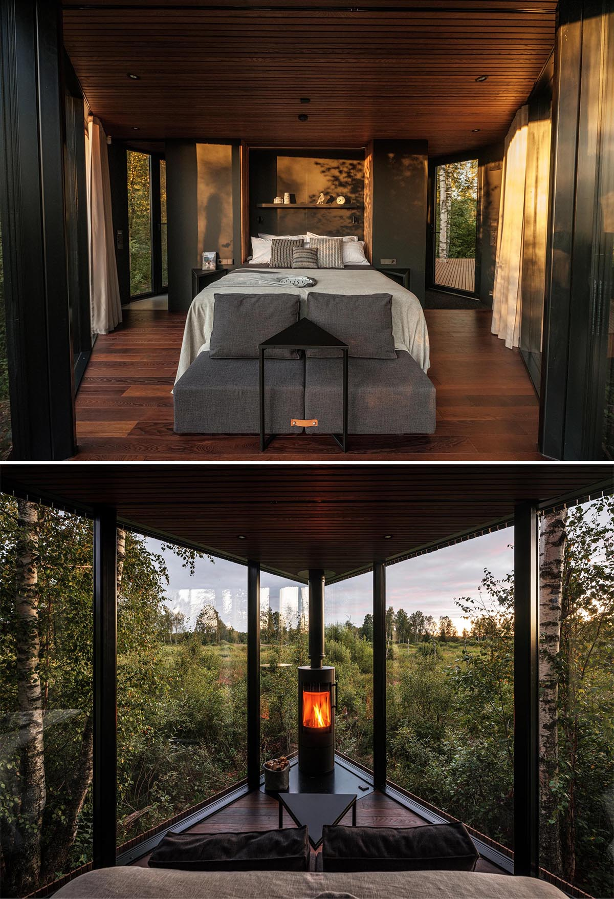 A modern cabin includes a triangular bedroom with a small sitting area at the end of the bed, which faces the fireplace and the view.