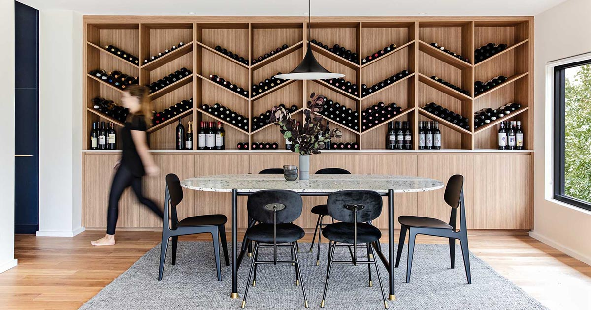 A Custom Designed Wine Storage Wall Is, Wine Storage Dining Room