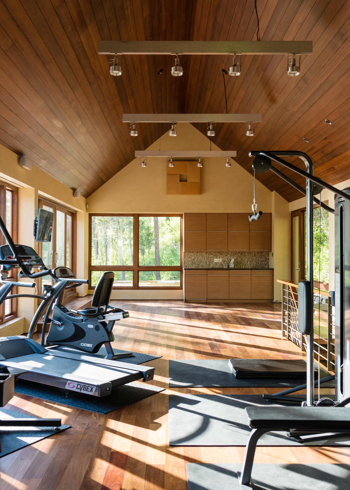 This gym showcases a wood lined ceiling that complements the flooring and the window frames. The gym also has doors that provide access to the green roof.