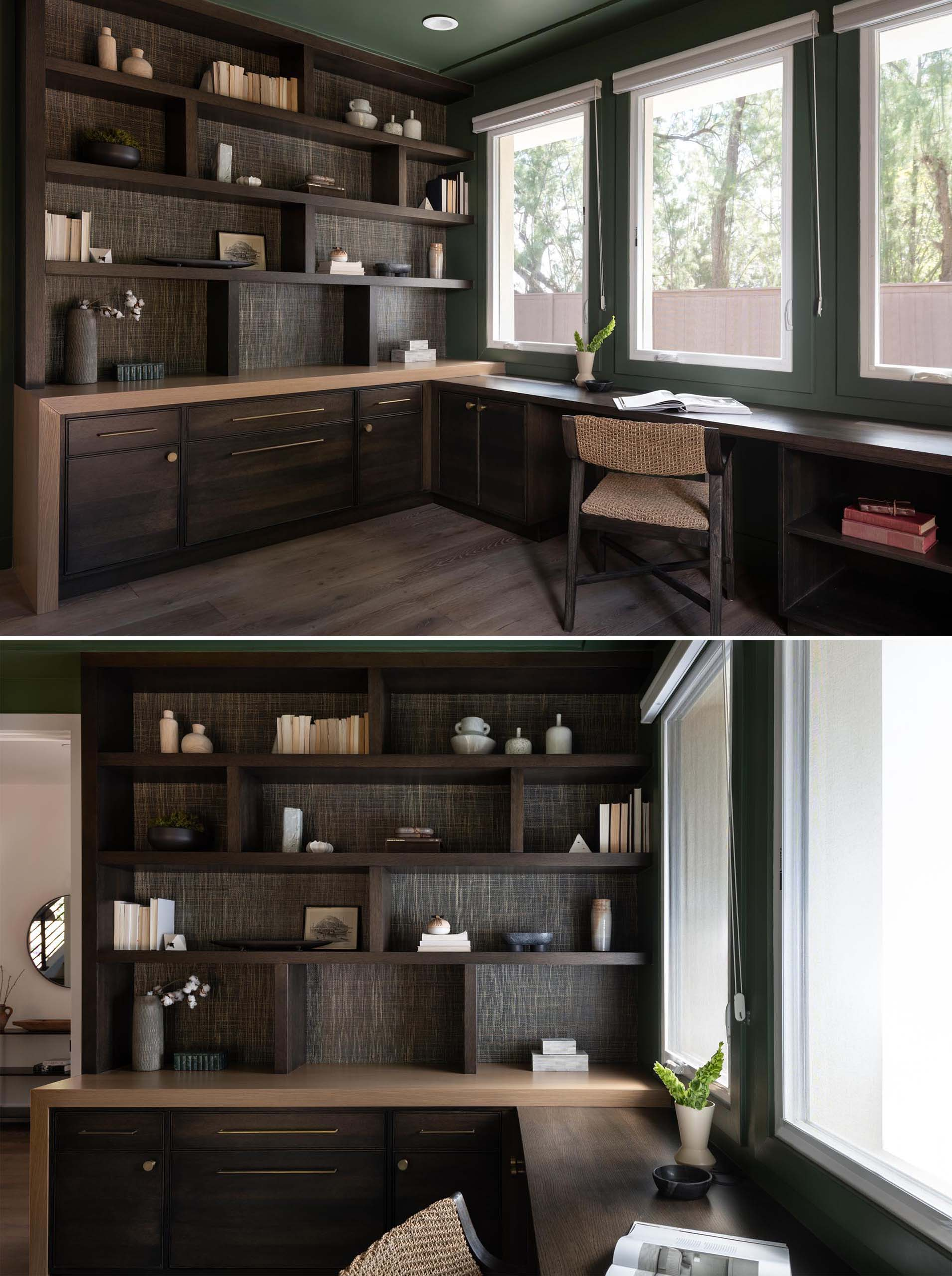A modern and dramatic home office with wood shelving that includes a dark stain and a natural wallpaper backing.