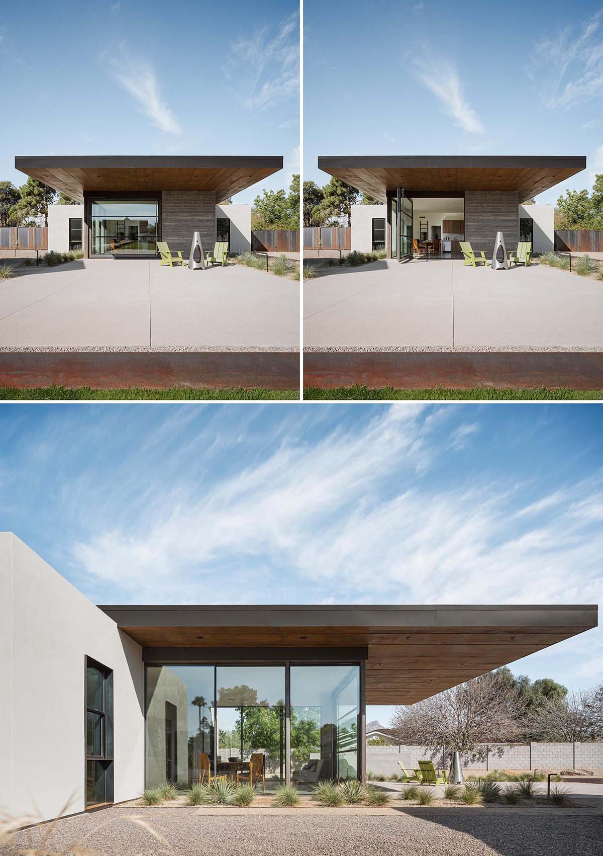 A small and modern home with a cantilevered roof that extends to create shade for the patio.